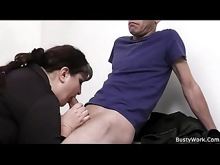 Busty secretary spreads legs for boss