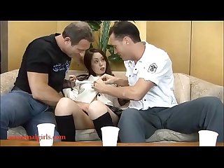 HD cute pancake face asian japanese horney slut gets anal from two white guys