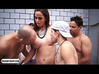 Latin tranny hot gangbang fucking with some horny studs