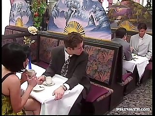 Rita cardinale gangbang and bukkake in the Restaurant