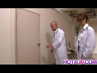 Arisa Ebihara is fucked by doctors after sucking