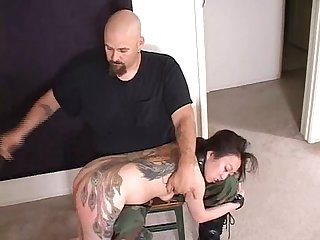 Tattoo asian whore spanked hard