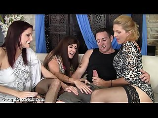 These stunning Hot cougars have wild orgy with guy excl