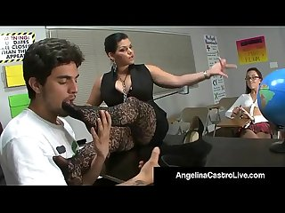 Cuban teacher angelina castro forces roxanne to do foot job excl