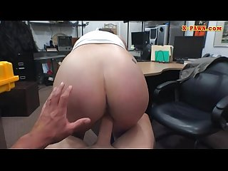 Busty woman wearing eye glasses railed in the backroom