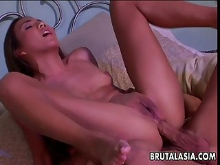 Very beautiful asian slut has a fuck in her ass