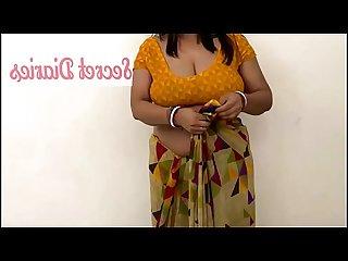 Aunty Remove Saree Hot Tempting Boobs&Navel Show
