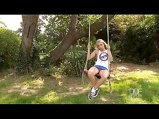 Euro teen fucks her ass in the garden