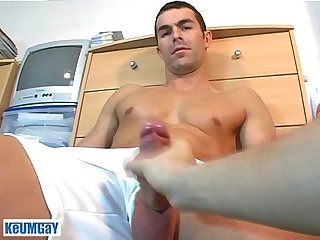 French straight guy nicolas serviced get wanked his huge cock