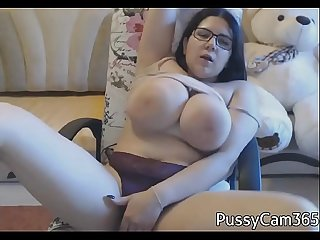 Chubby brunette masturbates on webcam pussycam365 com