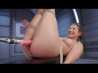 Solo tied up babe trimmed pussy fucked
