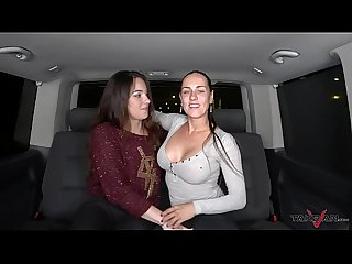 Wild foursome in driving van with mea melone Wendy moon ends with cum on ass