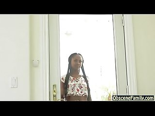 Ebony step daughter fucks her white dad