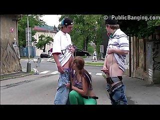 Cute young teen girl alexis crystal public street gangbang threesome fucking