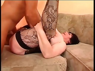 Sexy chubby woman in black stockings well banged
