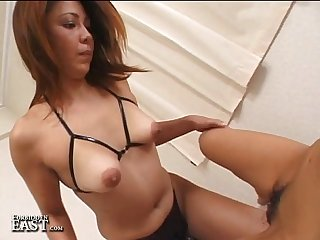 Uncensored japanese girl girl strap on dildo sex