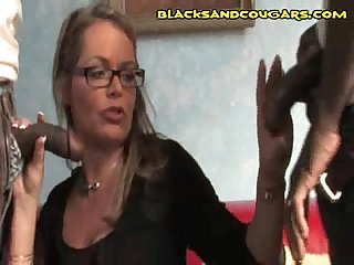 Hot white cougar long black cock