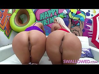 SWALLOWED Jasmine and London swallow a huge cock