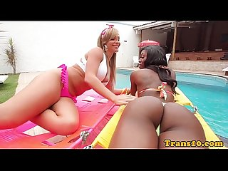 Black latina tgirl cocksucked in twosome