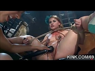 Struggling girl overpowered, suspended, bound