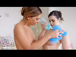 Bathtub bliss lesbian scene with Ally Breelsen and Nekane by Sapphix