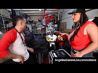Luscious Latina Angelina Castro Mouth Fucks Grease Monkey!