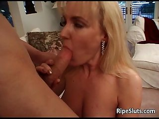 Sexy blonde milf bitch takes stiff white