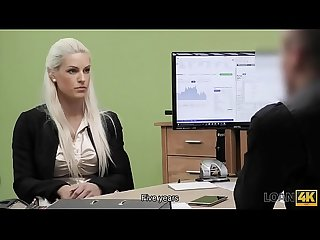Loan4k period nice model in lingerie accepts sex for cash in loan office