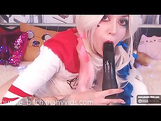 Harley Quinn cosplay ANAL teen young cute ass butt lesbian chaturbate webcam pornstar Purple Bitch