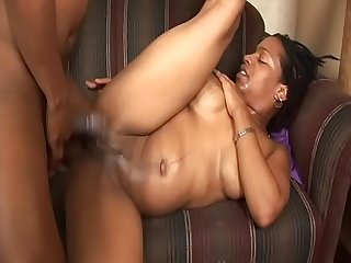 Hot coloured woman in violet Hyphy gets her mouth full of cum after cock riding