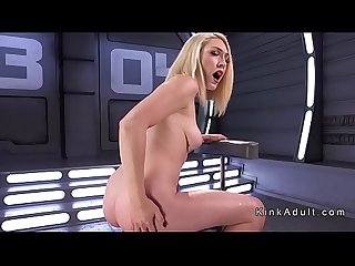 Long legged solo blonde machine fucked