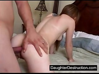 Painfully anal fucked daughter
