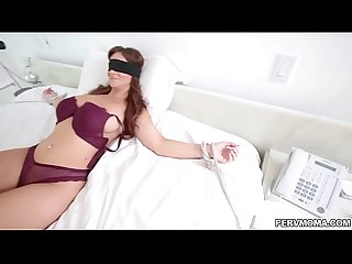 Stepmom blindfolded while sucking dick