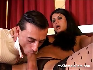 Guy having shemale sex on the bed