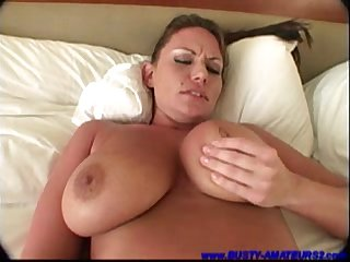 Busty babe Lesley toying her pussy