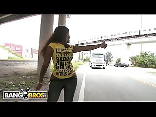 Bangbros black babe diamond mason walks around streets of miami showing off her big ass