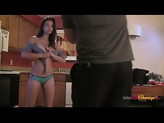 Hot indian teen shanaya striptease show in kitchen