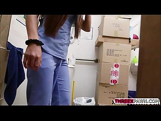 Long legged nurse sucked huge monster dick in the shop