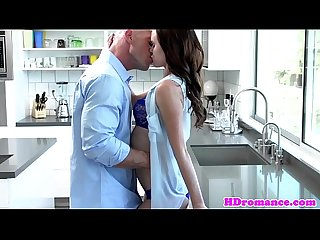 Young model couple start in kitchen