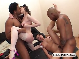 Two horny brunettes fucked in an interracial foursome HC-4-01