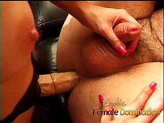 Submissive husband gets a blowjob before a nice hardcore pegging 6