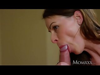 MOM Brunette MILF trades sloppy blowjob for creampie from younger man
