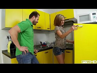Rihanna samuel s deep throat gets filled with huge cock in the kitchen