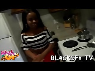 Black girl rides weenie on closeup