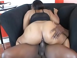 Chubby black girl with fat ass Pussy Katt sucks and fucks a black guy