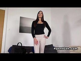 Fake agent bangs beautiful brunette