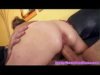 Saggy grandma gets her hairy pussy banged