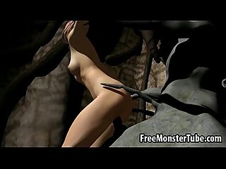 3d cartoon brunette gets fucked hard by a monster