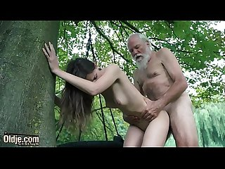 Cute Teen seduces Old man and fucks hardcore gets pussy licked and swallows cum