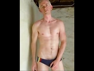 Speedo wank huge cumshot